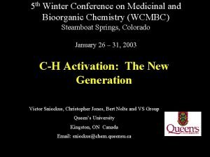 5 th Winter Conference on Medicinal and Bioorganic