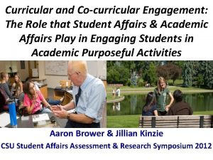 Curricular and Cocurricular Engagement The Role that Student
