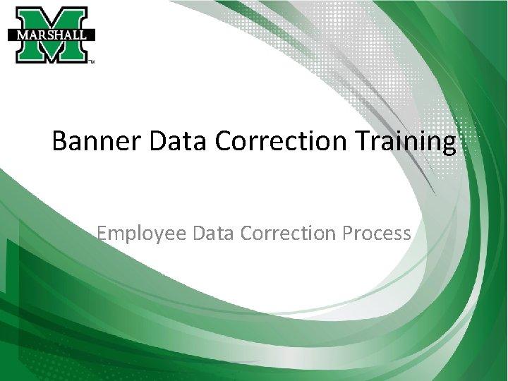 Banner Data Correction Training Employee Data Correction Process