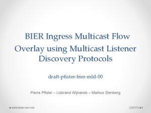 BIER Ingress Multicast Flow Overlay using Multicast Listener