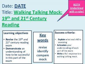 Date DATE Title Walking Talking Mock 19 th