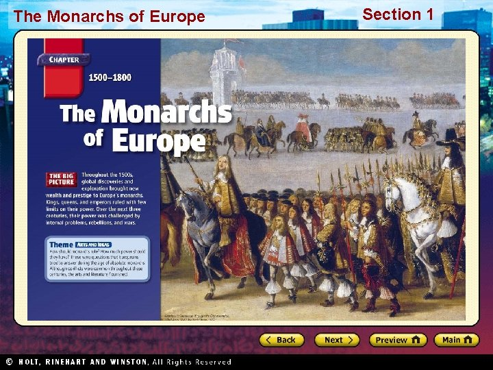 The Monarchs of Europe Section 1 The Monarchs