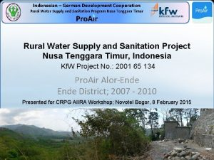 Indonesian German Development Cooperation Rural Water Supply and