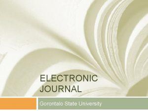 ELECTRONIC JOURNAL Gorontalo State University e Journal EJournal
