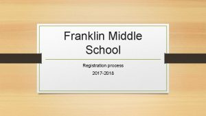 Franklin Middle School Registration process 2017 2018 Registration