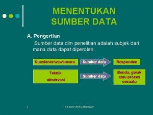 MENENTUKAN SUMBER DATA A Pengertian Sumber data dlm