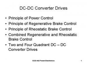 DCDC Converter Drives Principle of Power Control Principle