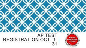 AP TEST REGISTRATION OCT 131 REGISTRATION DATES Registration