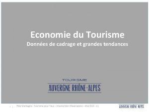 Economie touristique rgionale grandes tendances de Economie du