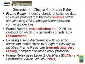 Semester 4 Chapter 6 Frame Relay Frame Relay