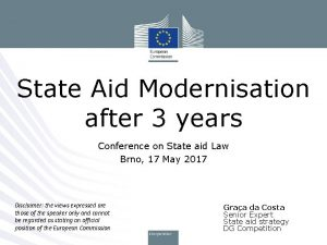 State Aid Modernisation after 3 years Conference on