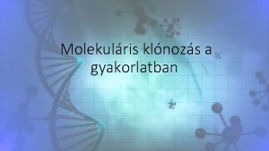 Molekulris klnozs a gyakorlatban CRISPRCas rendszerek Adaptv bakterilis