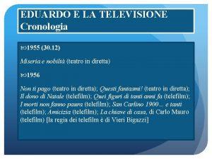 EDUARDO E LA TELEVISIONE Cronologia 1955 30 12