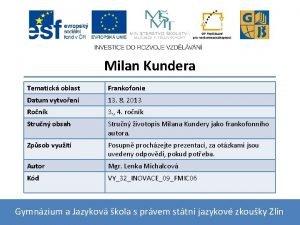 Milan Kundera Tematick oblast Frankofonie Datum vytvoen 13