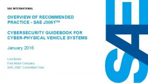 SAE INTERNATIONAL OVERVIEW OF RECOMMENDED PRACTICE SAE J