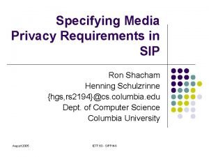 Specifying Media Privacy Requirements in SIP Ron Shacham