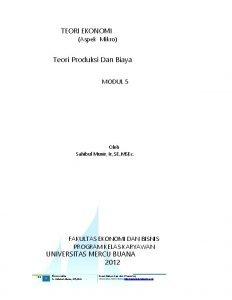 TEORI EKONOMI Aspek Mikro Teori Produksi Dan Biaya