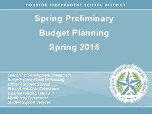 Spring Preliminary Budget Planning Spring 2015 Leadership Development