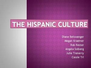 THE HISPANIC CULTURE Diane Beiswanger Megan Kraemer Rob