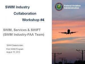 SWIM Industry Collaboration Workshop 4 SWIM Services SWIFT