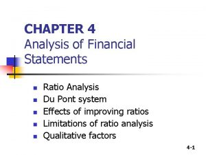 CHAPTER 4 Analysis of Financial Statements n n