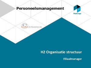 Personeelsmanagement H 2 Organisatie structuur Filiaalmanager Organisatiestructuur Kostenvoorwaarde