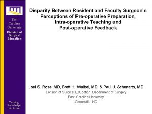 East Carolina University Disparity Between Resident and Faculty