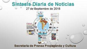 Sntesis Diaria de Noticias 27 de Septiembre de