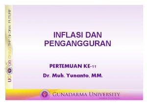 INFLASI DAN PENGANGGURAN PERTEMUAN KE11 Dr Muh Yunanto
