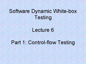 Software Dynamic Whitebox Testing Lecture 6 Part 1