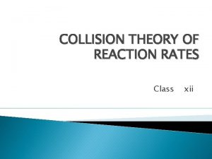 COLLISION THEORY OF REACTION RATES Class xii COLLISION