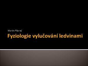 Martin Purn Fyziologie vyluovn ledvinami vod ledviny Fyziologie