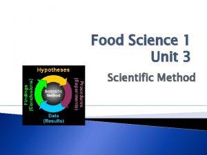 Food Science 1 Unit 3 Scientific Method Scientific