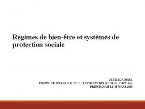 Rgimes de bientre et systmes de protection sociale