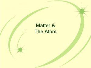 Matter The Atom Matter The term matter describes