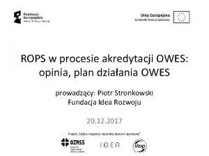 ROPS w procesie akredytacji OWES opinia plan dziaania