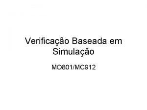 Verificao Baseada em Simulao MO 801MC 912 Ambiente