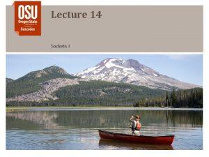 Lecture 14 Sockets I Outline Sockets Socket Domain