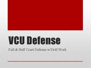 VCU Defense Full Half Court Defense wDrill Work