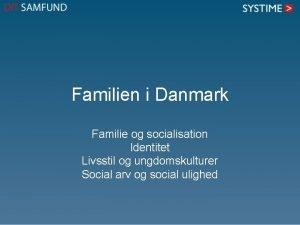 Familien i Danmark Familie og socialisation Identitet Livsstil