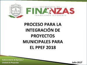 PROCESO PARA LA INTEGRACIN DE PROYECTOS MUNICIPALES PARA