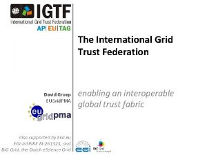 The International Grid Trust Federation David Groep EUGrid