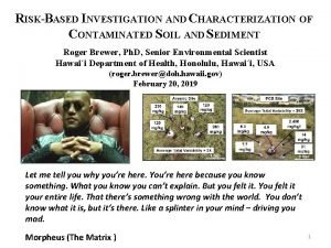 RISKBASED INVESTIGATION AND CHARACTERIZATION OF CONTAMINATED SOIL AND