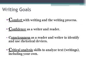 Writing Goals Comfort with writing and the writing