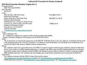 Callback HO Procedure for Reentry Femtocell IEEE 802