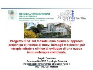 Progetto IRST sul mesotelioma pleurico approcci preclinico di