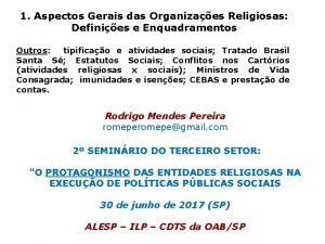 1 Aspectos Gerais das Organizaes Religiosas Definies e