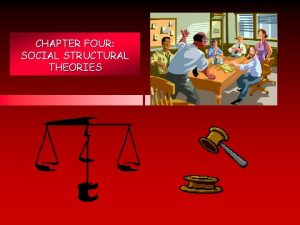 CHAPTER FOUR SOCIAL STRUCTURAL THEORIES Chapter Summary Chapter
