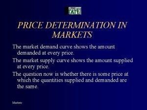 PRICE DETERMINATION IN MARKETS The market demand curve