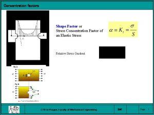 Concentration factors Shape Factor or Stress Concentration Factor